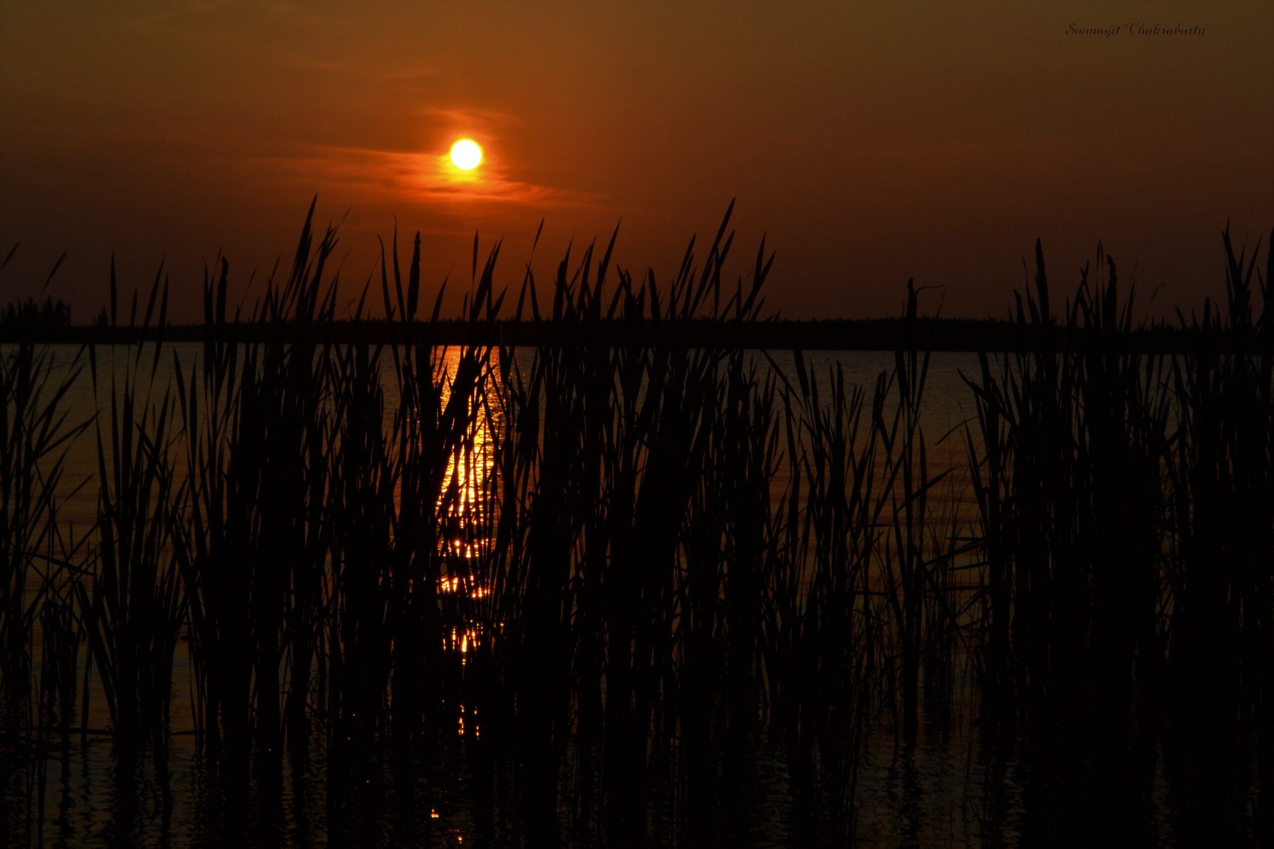 Sunset on the Long lake beach Yellowknife, NWT